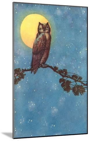 Owl with Full Moon--Mounted Art Print
