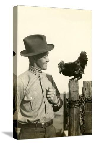 Farmer Talking to Rooster--Stretched Canvas Print