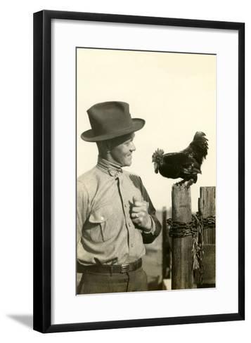 Farmer Talking to Rooster--Framed Art Print