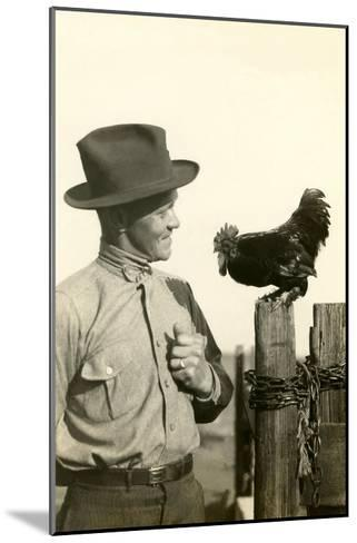Farmer Talking to Rooster--Mounted Art Print