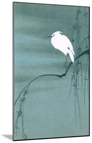Egret on Branch--Mounted Art Print