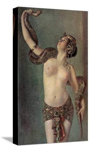 Semi-Naked Egyptian Woman with Python--Stretched Canvas Print