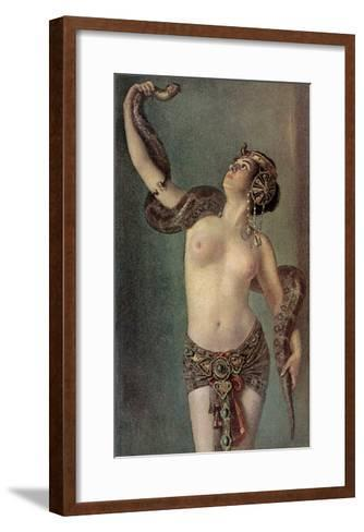 Semi-Naked Egyptian Woman with Python--Framed Art Print