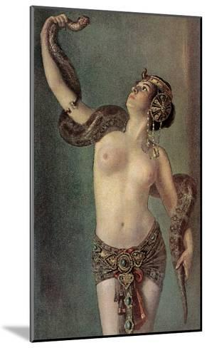 Semi-Naked Egyptian Woman with Python--Mounted Art Print