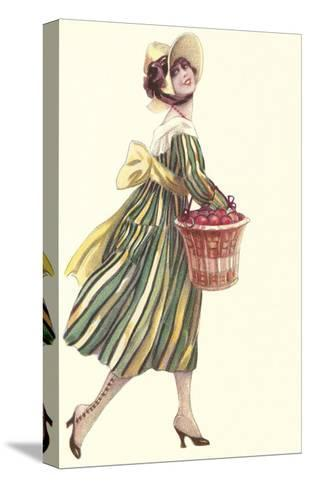 Victorian Woman in Stripped Dress Basket of Apples--Stretched Canvas Print
