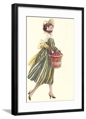 Victorian Woman in Stripped Dress Basket of Apples--Framed Art Print