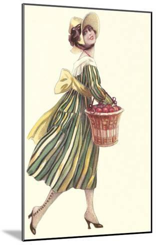 Victorian Woman in Stripped Dress Basket of Apples--Mounted Art Print
