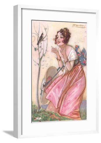 Woman Talking to Singing Bird--Framed Art Print