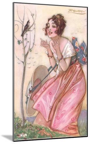 Woman Talking to Singing Bird--Mounted Art Print