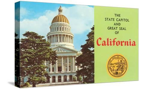 Capitol and Seal, Sacramento--Stretched Canvas Print