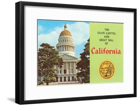 Capitol and Seal, Sacramento--Framed Art Print