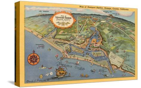 Map of Newport Harbor--Stretched Canvas Print