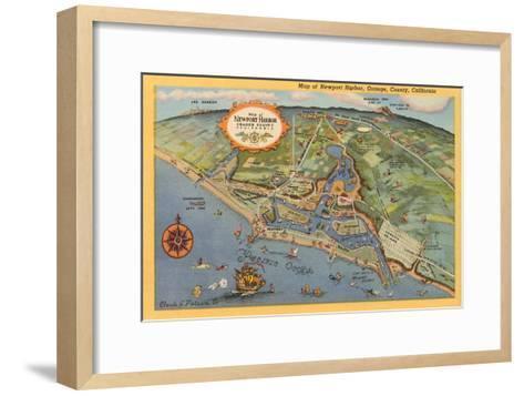 Map of Newport Harbor--Framed Art Print