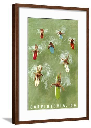 Colorful Surfers and Surf Boards in Green Water, Carpinteria--Framed Art Print