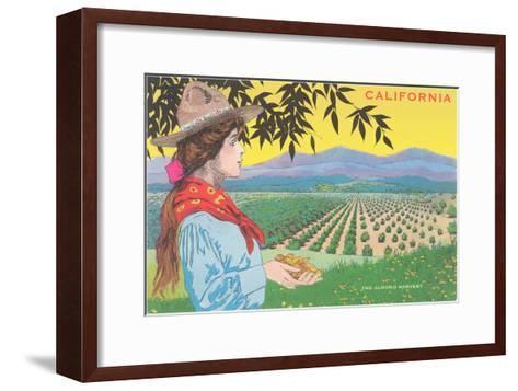 Woman Holding Almonds, California--Framed Art Print