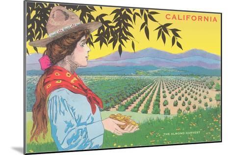 Woman Holding Almonds, California--Mounted Art Print