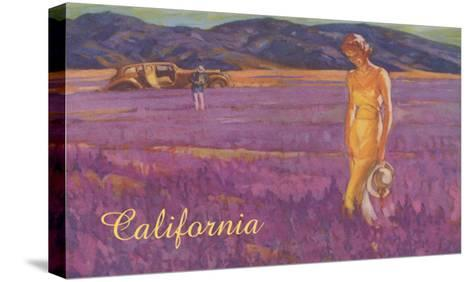 Woman in Field of Purple Flowers, California--Stretched Canvas Print