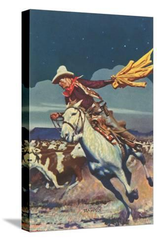 Cowboy with Stampede--Stretched Canvas Print