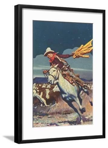 Cowboy with Stampede--Framed Art Print