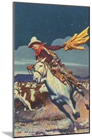 Cowboy with Stampede--Mounted Art Print