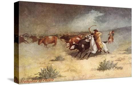 Cattle Stampede on the Range--Stretched Canvas Print