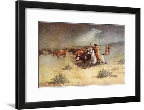 Cattle Stampede on the Range--Framed Art Print