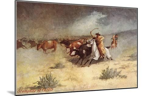 Cattle Stampede on the Range--Mounted Art Print