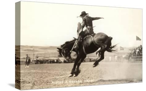 Riding a Nevada Bronco--Stretched Canvas Print