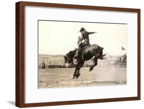 Riding a Nevada Bronco--Framed Art Print