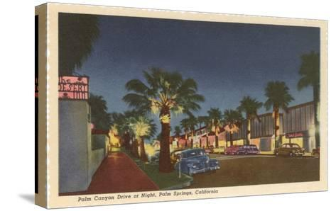 Palm Canyon at Night, Palm Springs, California--Stretched Canvas Print