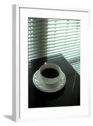 Cup of Coffee and Venetian Blinds--Framed Art Print