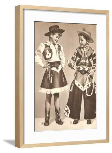 Little Cowboy and Cowgirl in Outfits--Framed Art Print