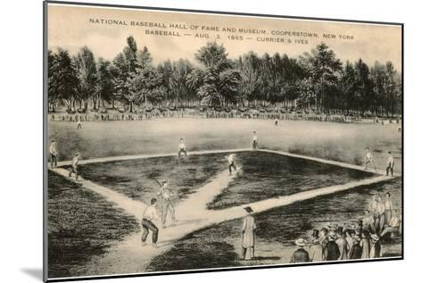 Baseball Game by Currier and Ives--Mounted Art Print