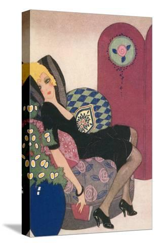 Languid Lady in Chair--Stretched Canvas Print