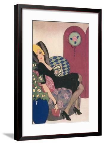Languid Lady in Chair--Framed Art Print