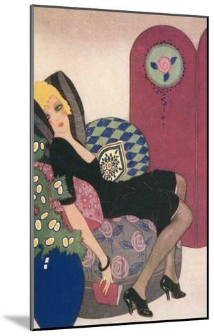 Languid Lady in Chair--Mounted Art Print