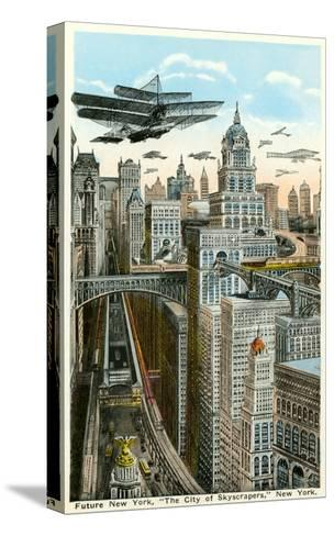 Future New York with Airships--Stretched Canvas Print