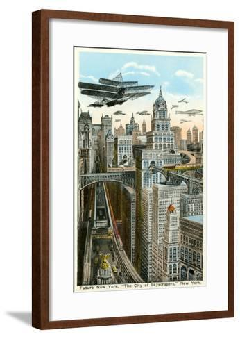 Future New York with Airships--Framed Art Print