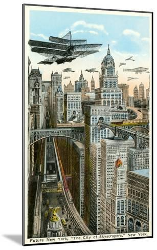 Future New York with Airships--Mounted Art Print