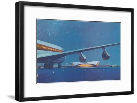 Jet Airliner Approaching Terminal--Framed Art Print