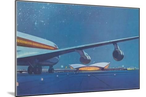Jet Airliner Approaching Terminal--Mounted Art Print