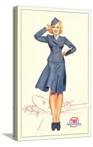 Pert Uniformed Stewardess Saluting--Stretched Canvas Print