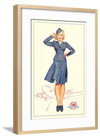 Pert Uniformed Stewardess Saluting--Framed Art Print