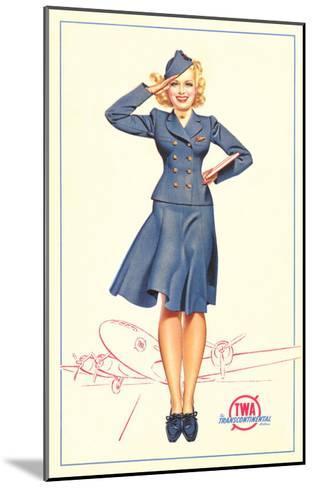 Pert Uniformed Stewardess Saluting--Mounted Art Print
