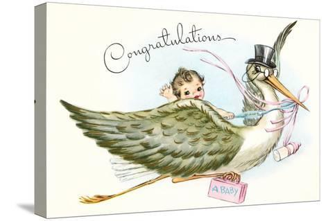 Congratulations, Stork and Baby Cartoon--Stretched Canvas Print