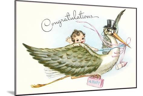 Congratulations, Stork and Baby Cartoon--Mounted Art Print