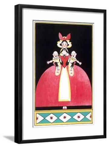 Woman Holding Squalling Twins Baby--Framed Art Print
