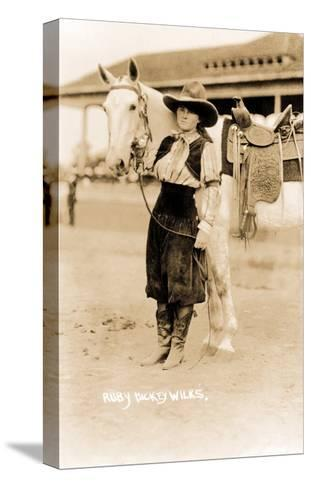 Cowgirl with Horse--Stretched Canvas Print