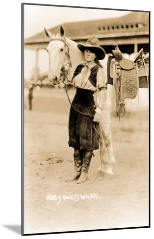 Cowgirl with Horse--Mounted Art Print