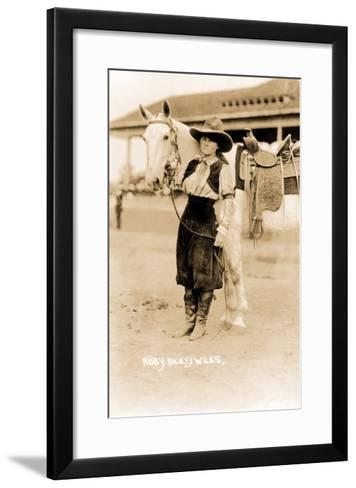 Cowgirl with Horse--Framed Art Print